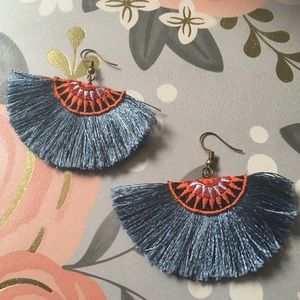 Blue Gray Coral Tassel earrings